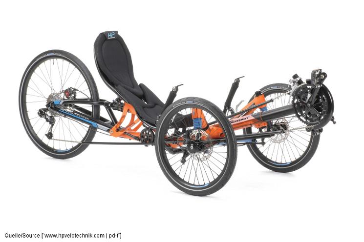 Mit dem Einzug der elektrischen Tretunterstützung in die Fahrradwelt werden mehrspurige Radkonzepte immer interessanter. Das gilt auch für Liegedreiräder wie dieses Modell von HP Velotechnik.
